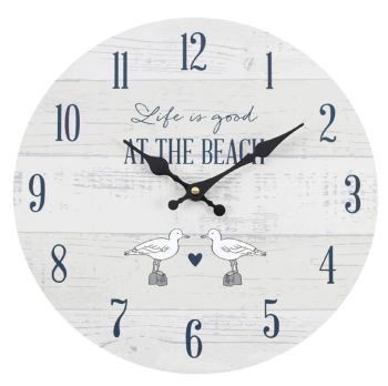 Life is Good at the Beach Wall Clock Grey and White Seaside Nautical