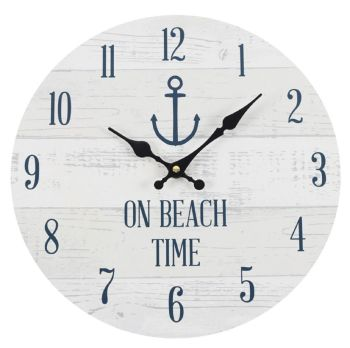 On Beach Time Wall Clock Grey and White Seaside Nautical