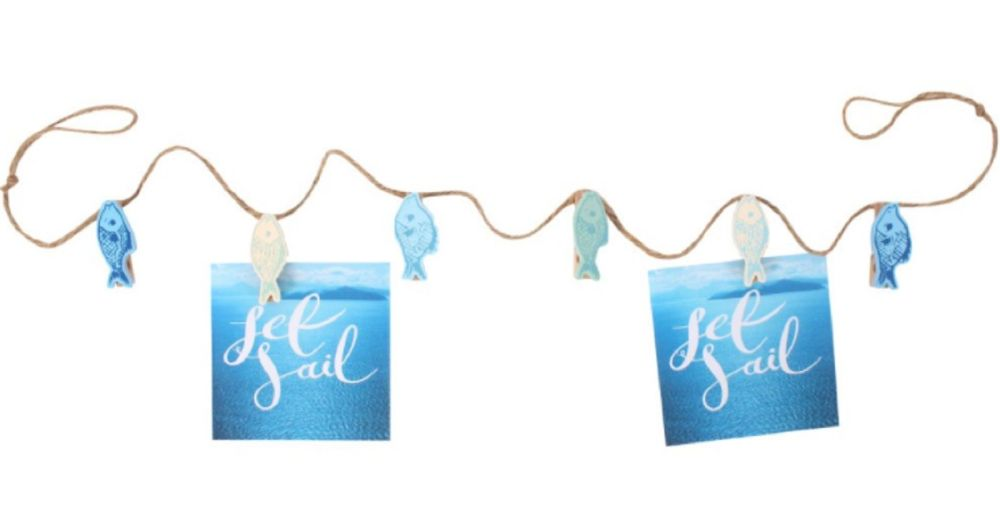 Photo and Craft Hanging String Line with Fish Shaped Pegs Blue Seaside Beac