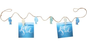 Photo and Craft Hanging String Line with Fish Shaped Pegs Blue Seaside Beach