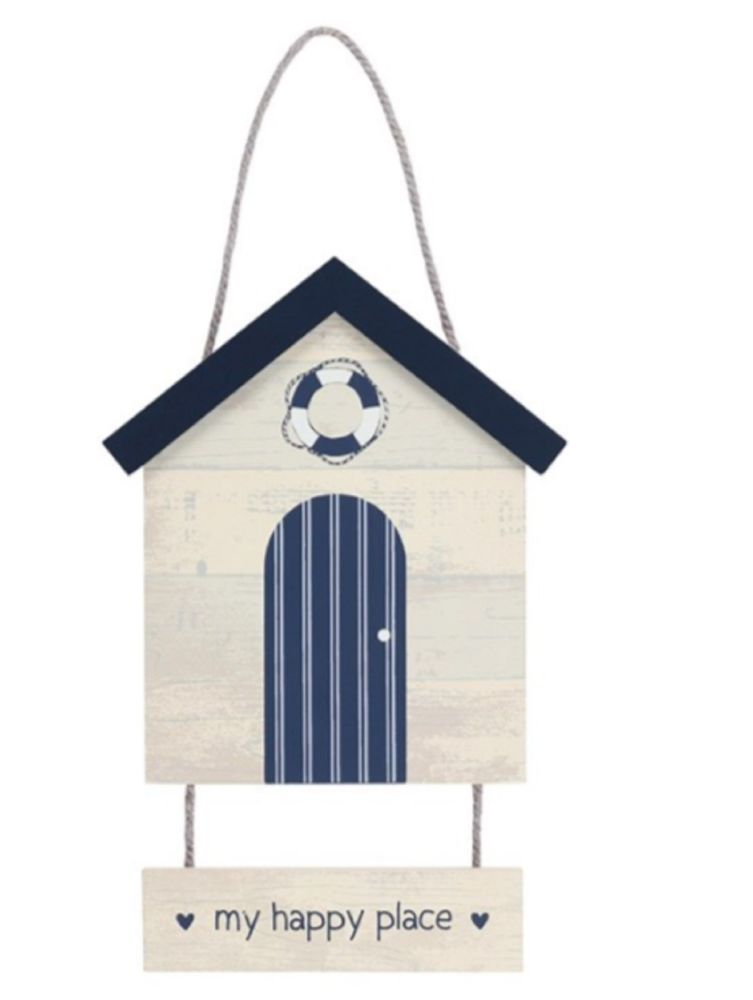 My Happy Place Seaside Hanging Beach Hut Sign Beach Coastal Decoration