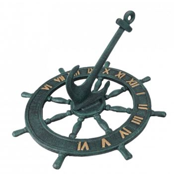 Cast Iron Ships Wheel Sundial 8696