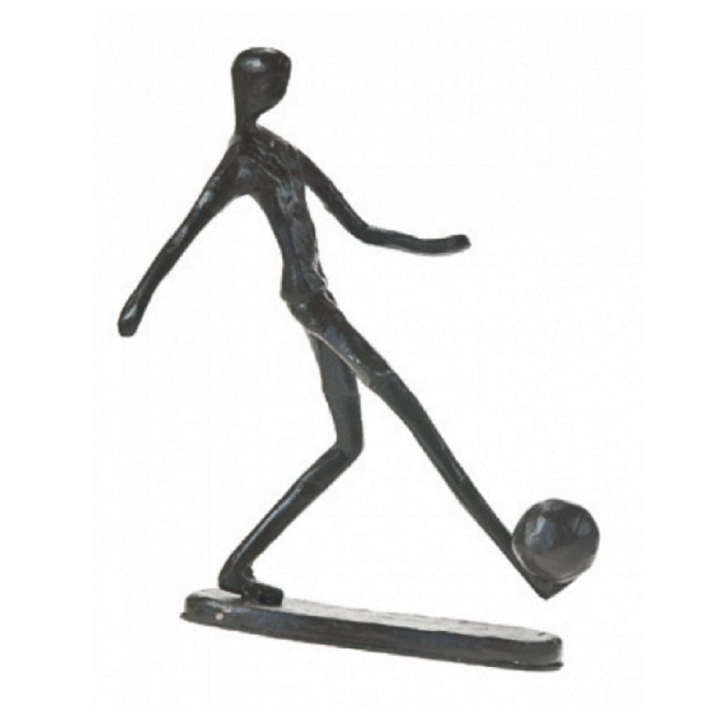"Footballer Sculpture ""The Striker"" Metal Figurine Gift Idea Player Trophy G"