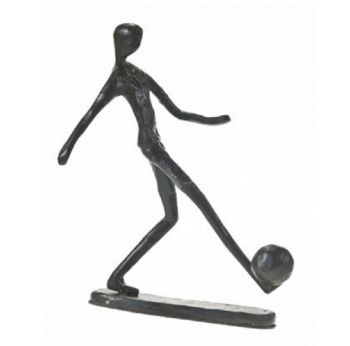 "Footballer Sculpture ""The Striker"" Metal Figurine Gift Idea Player Trophy Goals"