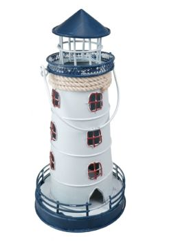 Lighthouse Lantern T Light Candle Holder Blue and White Metal Carry Handle Gift