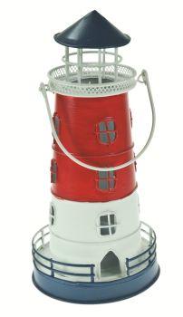 Lighthouse Lantern Candle Holder Red, White, Blue Metal Handle Gift Tea Light