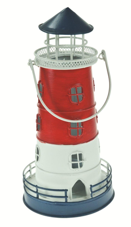 Lighthouse Lantern Candle Holder Red, White, Blue Metal Handle Gift Tea Lig