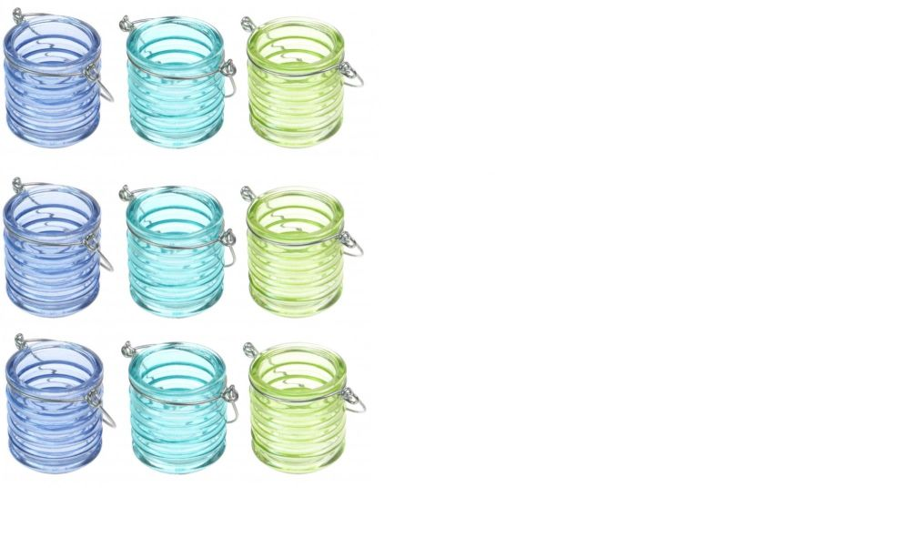 9 x Hanging glass t light holders small candle Lanterns - blue green Garden