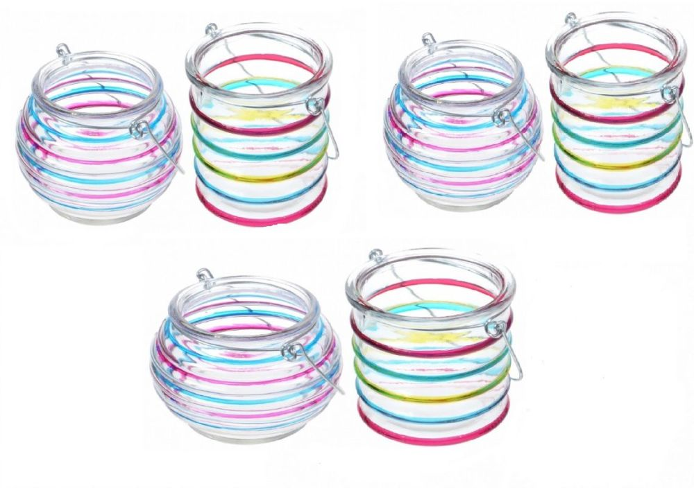 6 x Glass Tea Light Candle Holder Garden Lantern Striped  Round Set Patio P