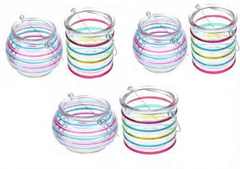 6 x Glass Tea Light Candle Holder Garden Lantern Striped  Round Set Patio Pub Hanging