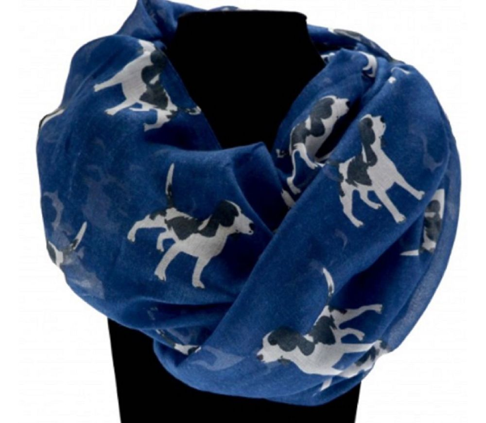 Dog Print Scarf in Blue and White - Beagle Dog Type