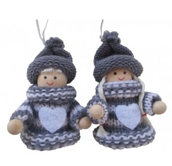 Christmas Grey and White Wooden Knitted Hanging Doll Ornament Home Decoration