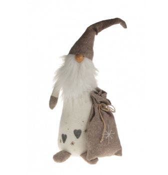Soft Santa Decoration Grey, White, Natural with Presents Sack Standing Gift Xmas