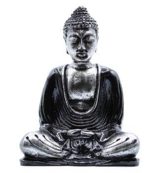 Black & Grey Medium Hand Crafted Painted Buddha Statue Ornament Figurine