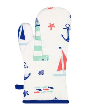 Nautical Seaside Kitchen Oven Glove with Boats and Shells Design