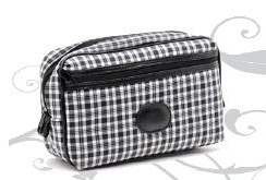 Black and White Checked Mens Wash Bag
