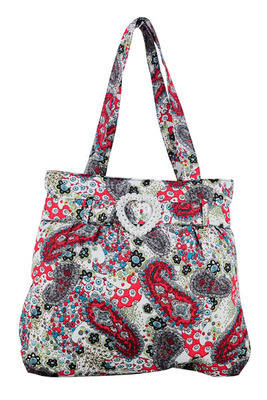 Red Paisley Tote Bag - Canvas Cotton