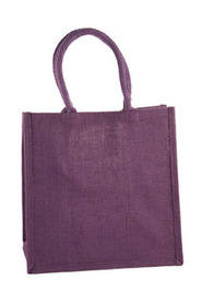 Purple Medium Sized Jute Hessian  Shopping Bag