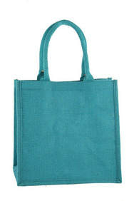 Turquoise Blue Medium Sized Jute Hessian  Shopping Bag