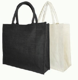 Black Large Natural Jute Shopping Bag - 40 x 35 x 15 cm