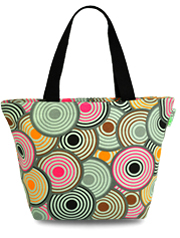 Retro Circles Oil Cloth Medium Tote Bag