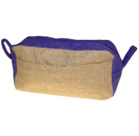 Jute Cosmetic Make Up Bag - Plain with Purple Trim - Great for Painting