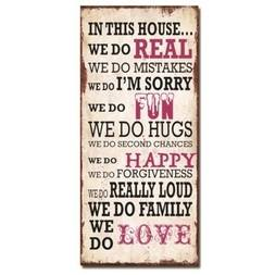 Family Love Fun Wooden Wall Plaque - Shabby Chic Sign