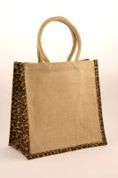 1 x Animal Print Medium Natural Jute Shopping Bag 30 x 30 cm