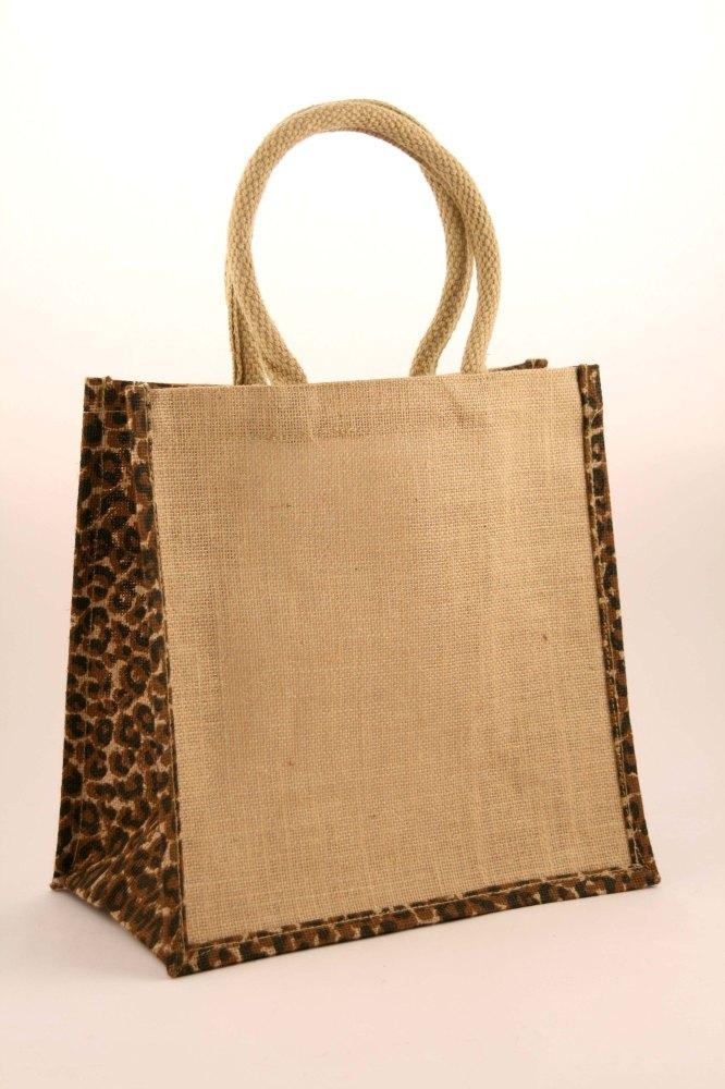 5 x Animal Print Medium Natural Jute Shopping Bag 30 x 30 cm