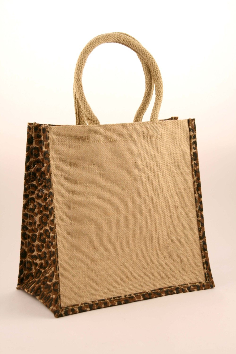 5 x Animal Print Medium Natural Jute Shopping Bag 30 x 30 cm