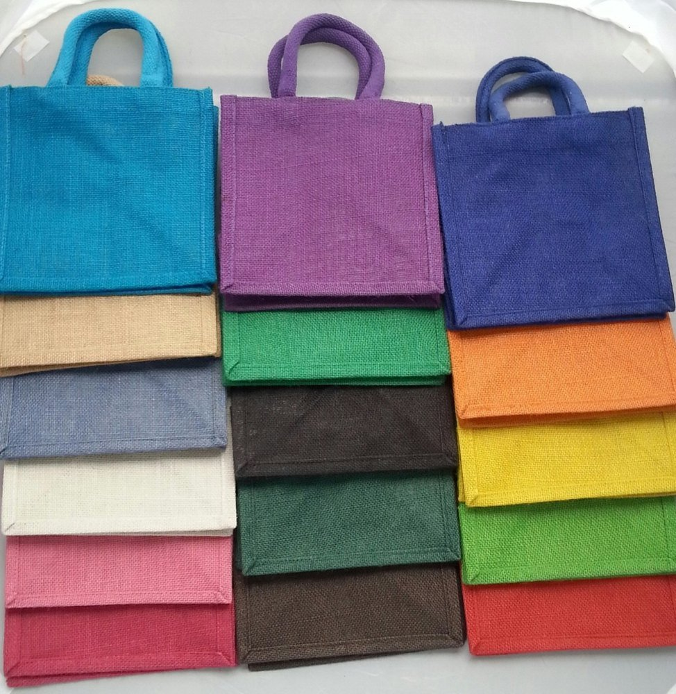 3 x Luxury Jute Gift  Bag 20 x 20 cm - Natural and Colours