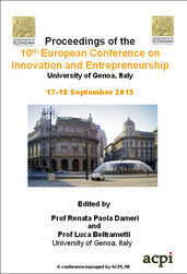 <!--431--> ECIE 2015 10th European Conference on Innovation and Entrepreneurship Genoa Italy ISBN: 978-1-910810-49-1 ISSN: 2049-1050