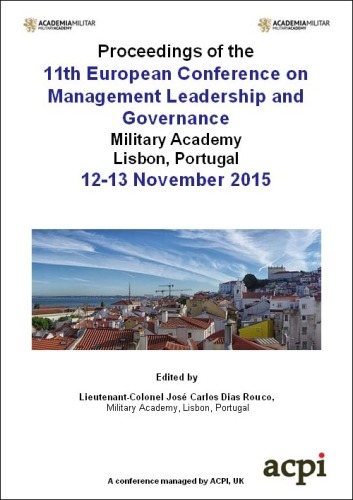 <!--099--> ECMLG 2015 11th European Conference on  Management Leadership and Governance Lisbon Portugal ISBN: 978-1-910810-76-7 ISSN: 20489021