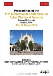<!--900--> ICCWS 2016 11th International Conference on Cyber Warfare and Security Boston Massachusetts USA ISBN: 978-1-910810-82-8 ISSN: 2048-9870