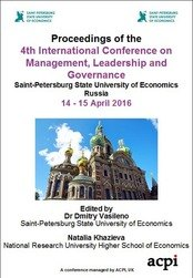 <!--800--> ICMLG 2016 4th International Conference on Management Leadership and Governance St Petersburg Russia ISBN: 978-1-910810-84-2 ISSN: 2049-681
