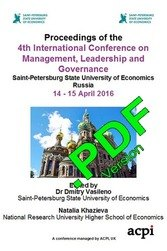 <!--801--> ICMLG 2016 4th International Conference on Management Leadership and Governance St Petersburg Russia PDF Ver ISBN: 978-1-910810-85-9 ISSN: