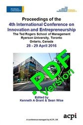 ICIE 2016 4th International Conference on Innovation and Entrepreneurship Toronto Canada ISBN: 978-1-910810-87-366 ISSN: 2049-6842