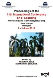 ICEL 2016 11th International Conference on e-Learning Kuala Lumpur Malaysia Print version ISSN: 2048-8882 Print version ISSN: 2048-8882
