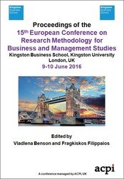 <!--400--> ECRM 2016 15th European Conference on Research Methodology for Business and Management Studies London UK Print ISSN: 2049-0968 Print ISBN: