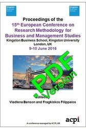 <!--410--> ECRM 2016 15th European Conference on Research Methodology for Business and Management Studies London UK PDF ISSN: 2049-0976 PDF ISBN: