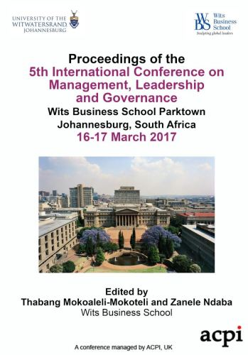 ICMLG 2017 - Proceedings of the 5th International Conference on Management Leadership and Governance