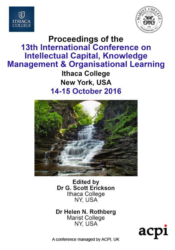 ICICKM 2016 - Proceedings of the 13th International Conference on Intellectual Capital, Knowledge Management & Organisational Learning