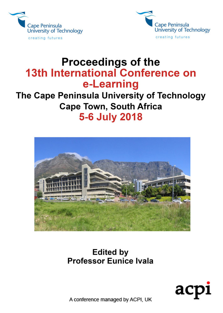ICEL 2018 PDF -  Proceedings of the 13th International Conference on e-Learning