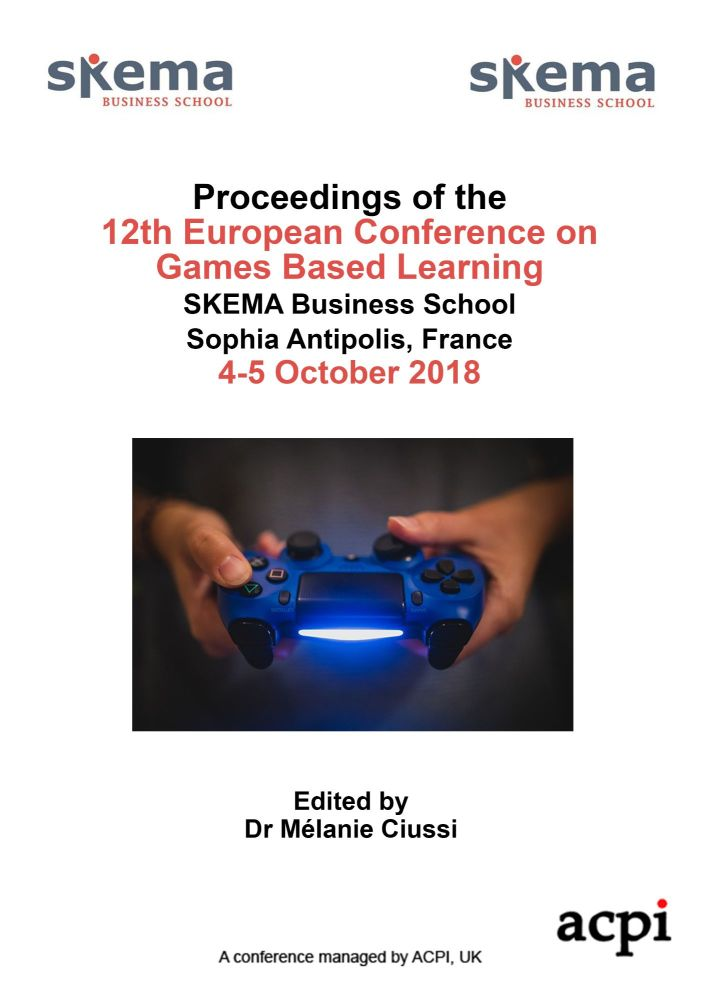 ECGBL 2018 - Proceedings of the 12th European Conference on Game-Based Learning PRINT VERSION