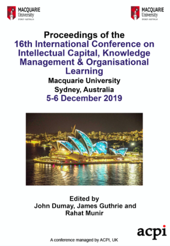 ICICKM 2019 - Proceedings of the 16th International Conference on Intellectual Capital, Knowledge Management & Organisational Learning PRINT VERSION