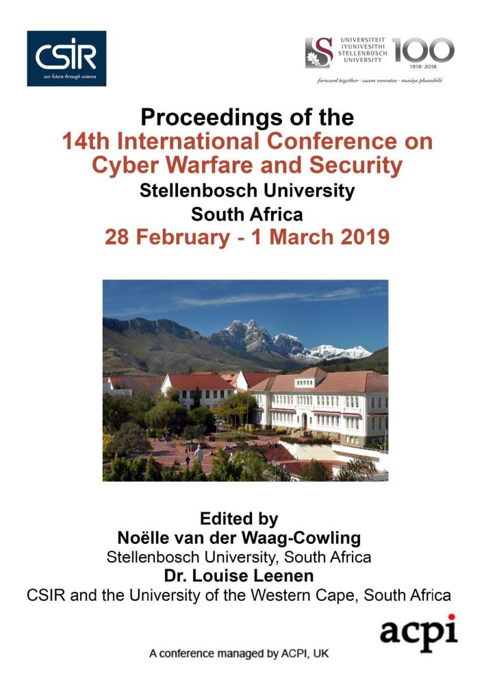 ICCWS 2019 - Proceedings of the 14th International Conference on Cyber Warfare and Security PRINT VERSION