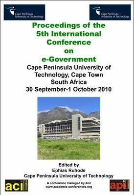 ICEG 2010 - 6th International Conference on eGovernment  - Cape Town, South Africa. PRINT version