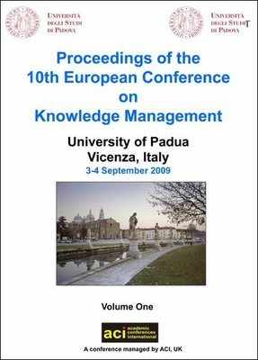 ECKM 2009  - 10th European Conference on Knowledge Management  – Vicenza, Italy - PRINT version