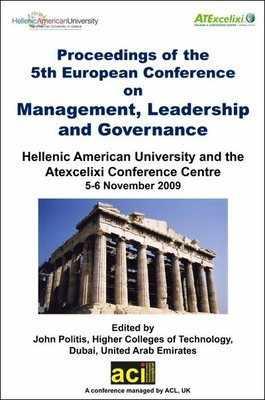 ECMLG 2009 - 5th European Conference on Management, Leadership and Governance – Athens, Greece PRINT version