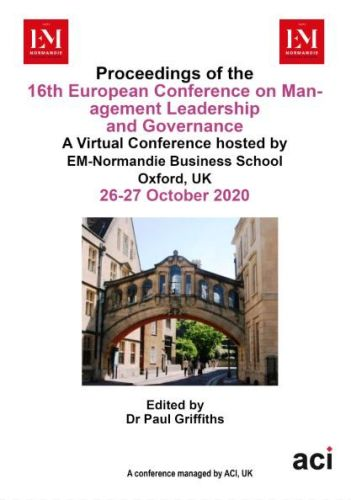ECMLG 2020 - Proceedings of the  16th European Conference on Management Leadership and Governance - PRINT VERSION